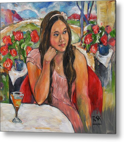Oil Painting Metal Print featuring the painting Jinny In Pink Dress by Becky Kim