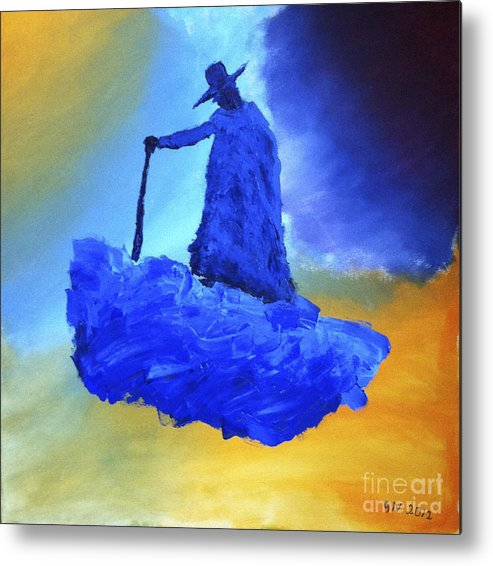 Blue Metal Print featuring the painting Journeyman by Goran Nilsson