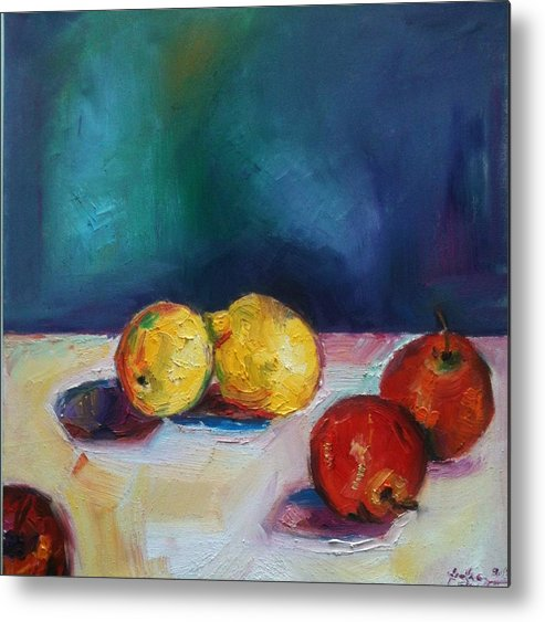 Fruits Metal Print featuring the painting Lemons And Apples by Andrea Ehret