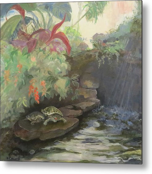 Turtles Metal Print featuring the painting Love At The Conservatory by Terri Messinger