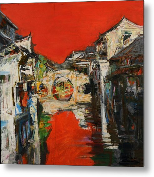Landscape Seris Metal Print featuring the painting memory of hometown No.12 by Zheng Li