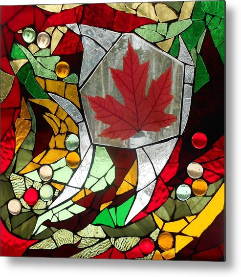 Leaf Metal Print featuring the glass art Mosaic Stained Glass - Canadian Maple Leaf by Catherine Van Der Woerd