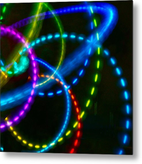 Color Light Designs Metal Print featuring the photograph Multi-color Light Orbits by Blair Seitz