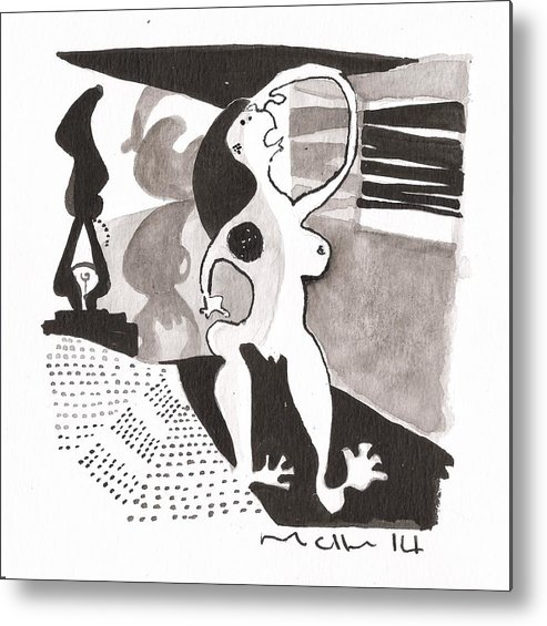 Abstract Metal Print featuring the drawing Noctis No. 8 by Mark M Mellon