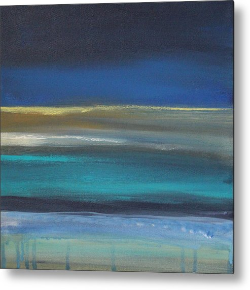Abstract Painting Metal Print featuring the painting Ocean Blue 2 by Linda Woods