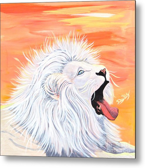 White Lion Metal Print featuring the painting Playful White Lion by Phyllis Kaltenbach