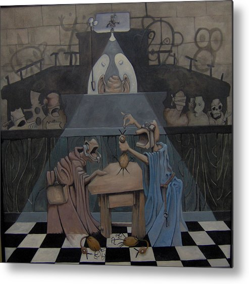 Surreal Metal Print featuring the painting Poison The Chicken by Michael Irrizary-Pagan