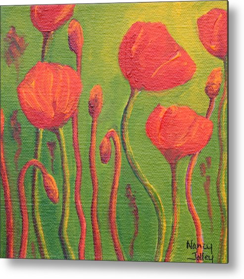 Poppy Metal Print featuring the painting Poppy Field by Nancy Jolley