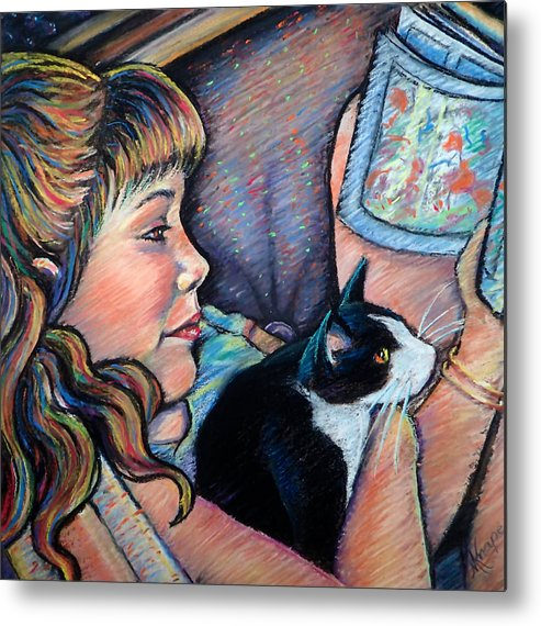 Girl Metal Print featuring the painting Reading To Boots by Mary Knape