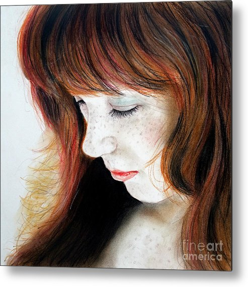Drawing Metal Print featuring the drawing Red Hair And Freckled Beauty II by Jim Fitzpatrick