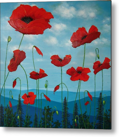 Red Poppies Metal Print featuring the painting Reminiscent by Cathy Frick