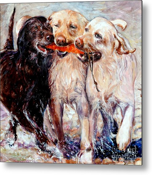 Dogs Retrieving Metal Print featuring the painting Retrieving Fools by Molly Poole
