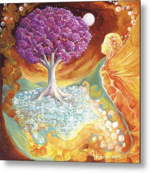 Earth Metal Print featuring the painting Ruby Tree Spirit by Valerie Graniou-Cook