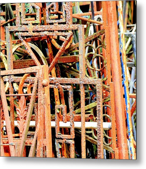 Square Abstract Metal Print featuring the photograph Rusty Railings Square by Carol Groenen