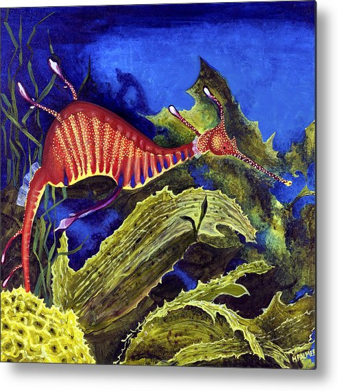 Seadragon Metal Print featuring the painting Sea Dragon by Mary Palmer
