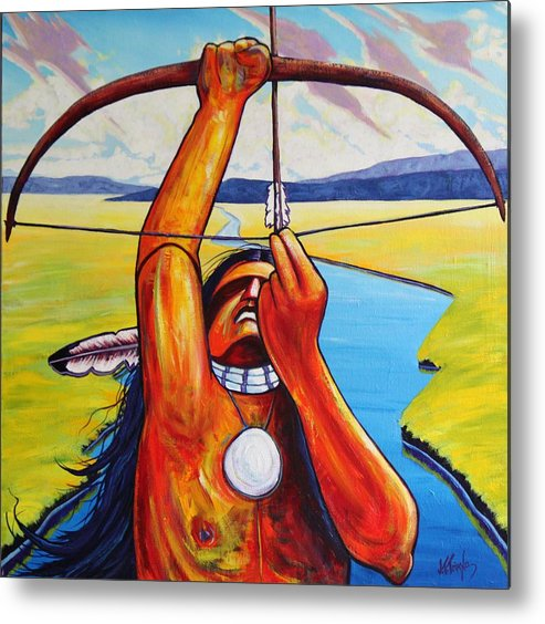 Native American Metal Print featuring the painting Shamans Prayer by Joe Triano