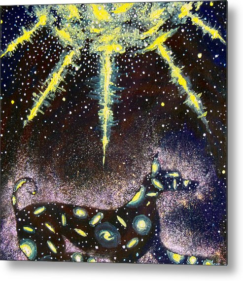 Dog Metal Print featuring the painting Sirius Listening by Dennis Goodbee