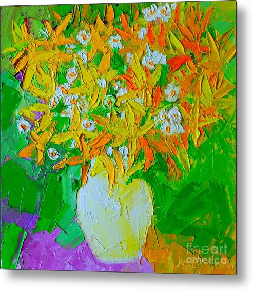 Forsythia Metal Print featuring the painting Spring Flowers by Ana Maria Edulescu