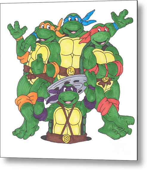 Fanart Metal Print featuring the painting Teenage Mutant Ninja Turtles by Yael Rosen