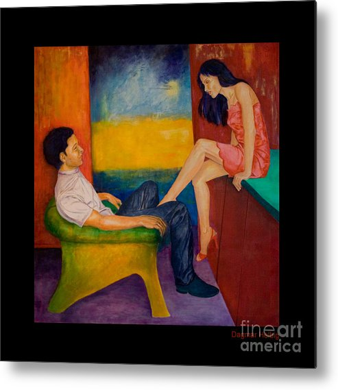 Human-picture-original Metal Print featuring the painting Temptation by Dagmar Helbig