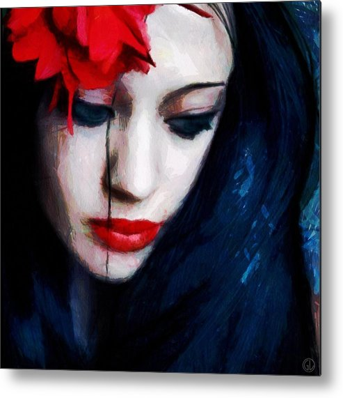 Woman Metal Print featuring the digital art The Red Flower by Gun Legler