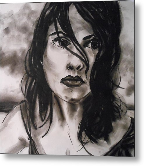 Woman Metal Print featuring the drawing Time To Think by Jason Reinhardt