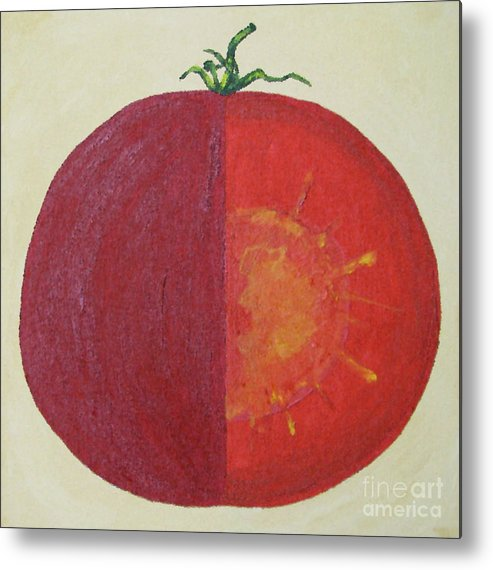 Kitchen Art Metal Print featuring the painting Tomato In Two Reds Acrylic On Canvas Board By Dana Carroll by Dana Carroll