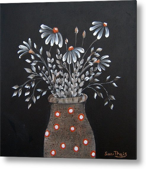 Flowers Metal Print featuring the painting Wake Up And See The Flowers by Suzanne Theis