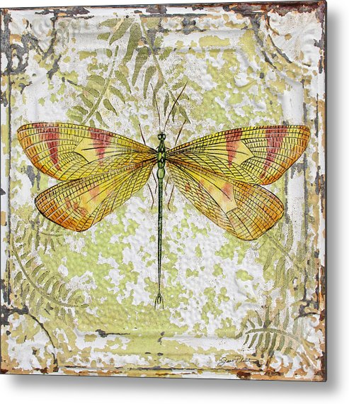 Acrylic Painting Metal Print featuring the painting Yellow Dragonfly On Vintage Tin by Jean Plout