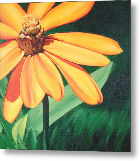 Flower Metal Print featuring the painting Yellow Flower by Carlynne Hershberger