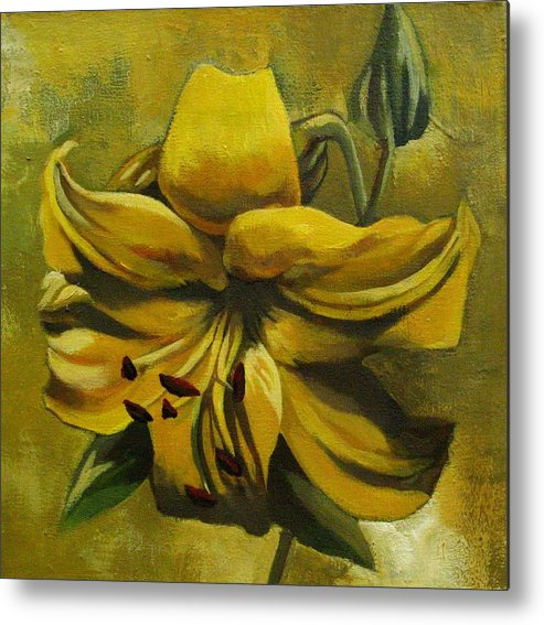 Art Metal Print featuring the painting Yellow Lily by Alfred Ng