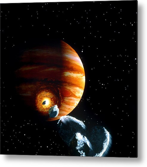 Shoemaker-levy 9 Metal Print featuring the photograph Artwork Of First Comet Impacts On Jupiter, 1994 by Julian Baum