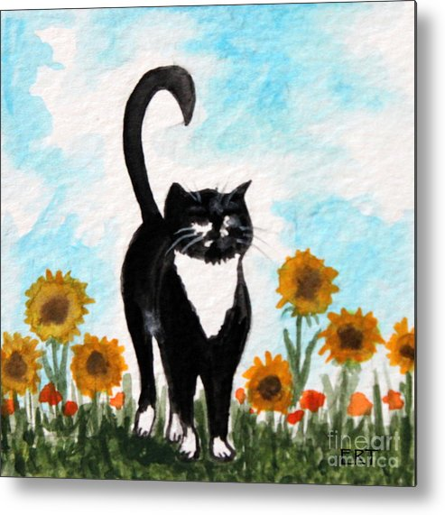 Cat Metal Print featuring the painting Cat Walk Through The Sunflowers by Elizabeth Robinette Tyndall
