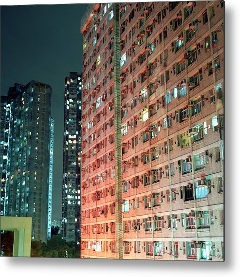 Horizontal Metal Print featuring the photograph Colors Of A Housing Estate At Night by Kevin Liu