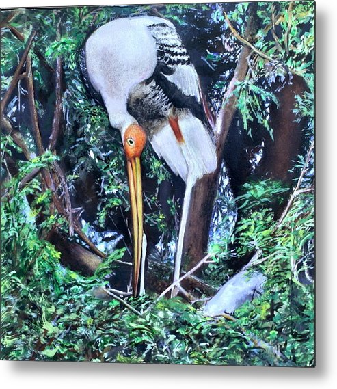 Bird Metal Print featuring the painting Crane by Paramita Mitra