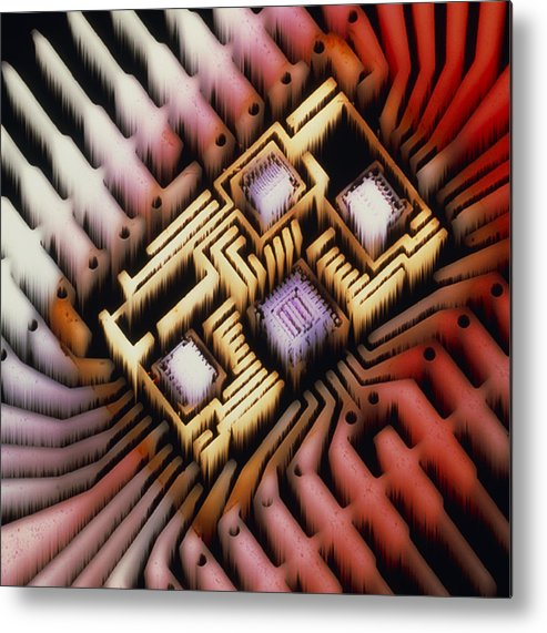 Hybrid Circuit Metal Print featuring the photograph Enhanced Macrophoto Of A Hybrid Integrated Circuit by Pasieka
