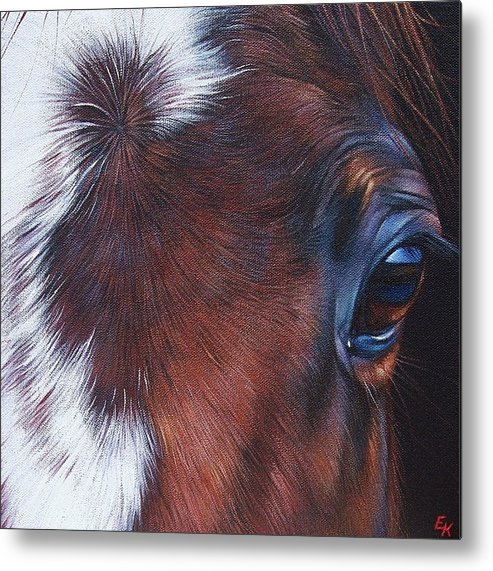 Horse Metal Print featuring the painting Equine 1 by Elena Kolotusha