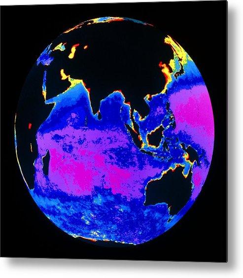 Phytoplankton Distribution Metal Print featuring the photograph False Colour Image Of The Indian Ocean by Dr Gene Feldman, Nasa Gsfc