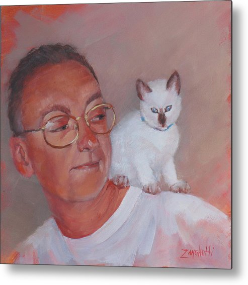 Portrait Metal Print featuring the painting George And Doc by Laura Lee Zanghetti