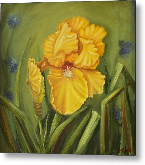 Yellow Metal Print featuring the painting Iris by Marlyn Boyd