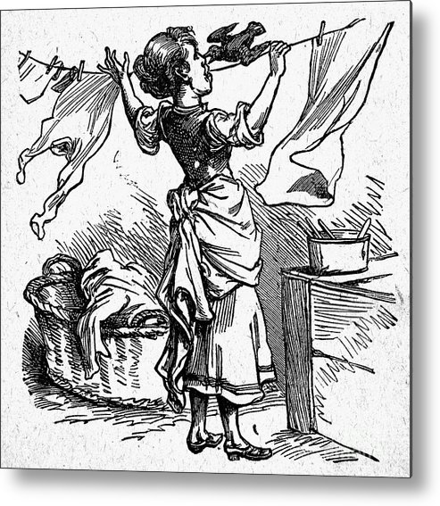 19th Century Metal Print featuring the photograph Mother Goose: Maid by Granger