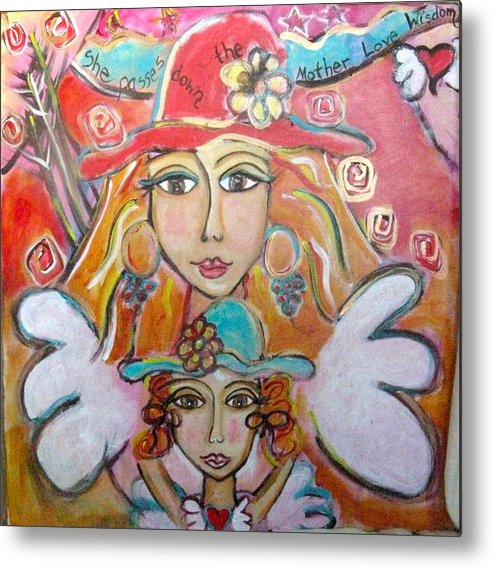 Goddess Metal Print featuring the painting She Passes Down The Mother Love Wisdom by Carina Nickerson
