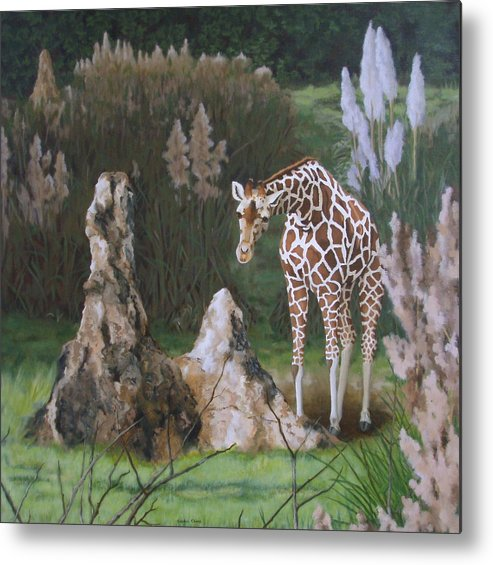 Giraffe Metal Print featuring the painting The Termite Mounds by Sandra Chase