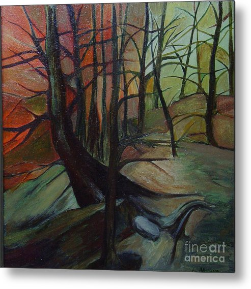Trees Forest Woods Sunset Sunrise Winter Original Oil Painting Small Metal Print featuring the painting Adrift by Leila Atkinson