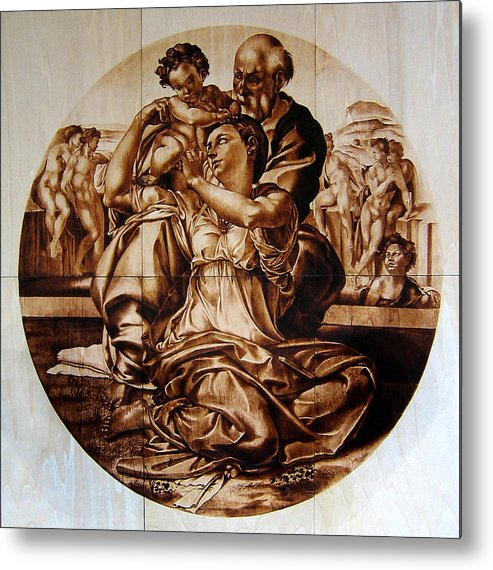 Dino Muradian Metal Print featuring the pyrography Doni Tondo by Dino Muradian