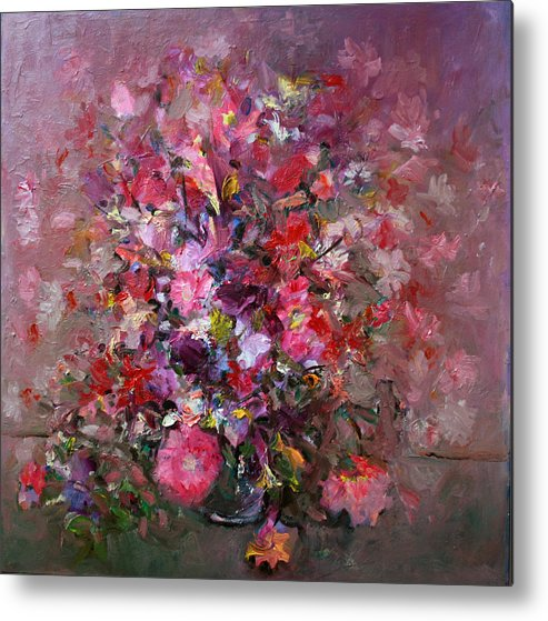 Pink Flowers Metal Print featuring the painting Flowers by Mario Zampedroni