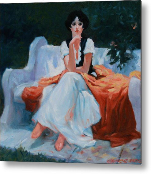 Portrait Metal Print featuring the painting Pensive Pose by Kevin Lawrence Leveque