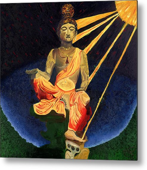 Budda Metal Print featuring the painting Serenity by Gregory Allen Page