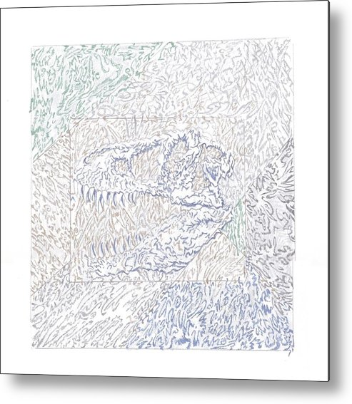 Abstract Metal Print featuring the drawing Susie Q by Wayne Monninger