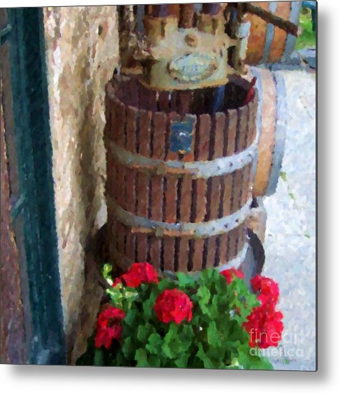 Geraniums Metal Print featuring the photograph Wine And Geraniums by Debbi Granruth